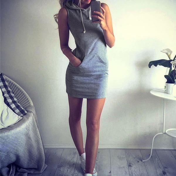 Großhandel Sommer Frauen Slim Sport Kapuzenkleid 2018 Pullover Minikleider Casual Strand Kurzes Kleid Mit Taschen Bandage Vestidos Plus Größe Von