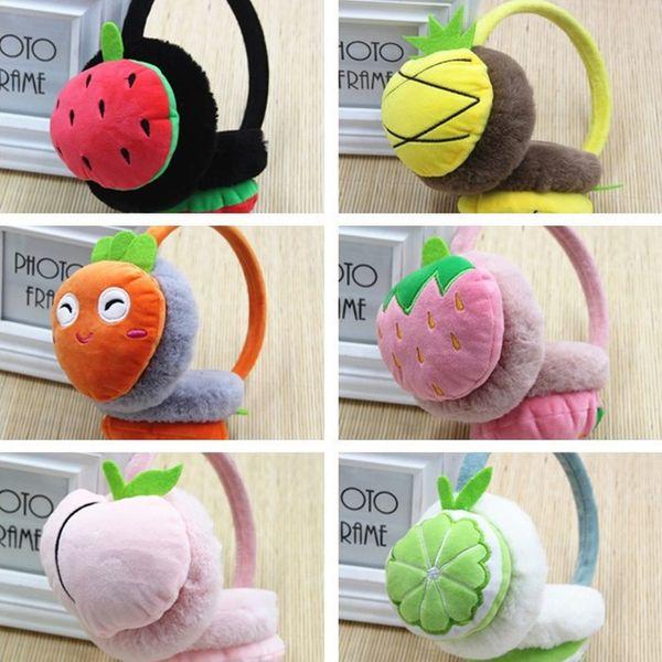 Boys and Girls Winter Warm Lovely Cartoon Plush Children adults Earmuffs Ear Fruit Series Watermelon Strawberry Thick Kids Ear Muffs T2C063
