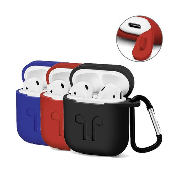 Silicone Case for Apple Airpods Headset Soft Cover Protector with Dust Plug Anti-Lost Strap Sleeve Shockproof Pouch for Air Pods Earphones