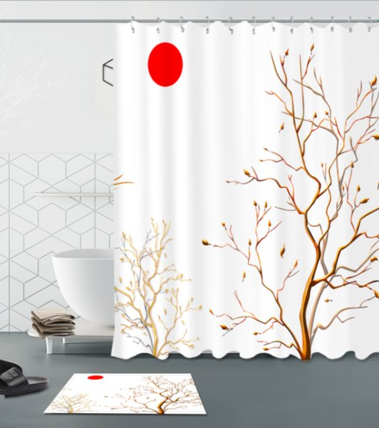 3D Polyester Fabric Japanese style Pattern Shower Curtains with 12 Hooks For Bathroom Decor Modern Bath Waterproof Curtain floor mats sets