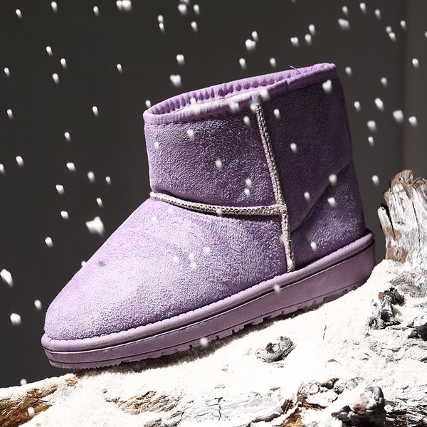 Cheap Girls Child Ladies Waterproof Cute Cotton Snow Boots Winter Warm Outdoor Plush Ankle Chelsea Boots Flat Slip-On Casual Shoes