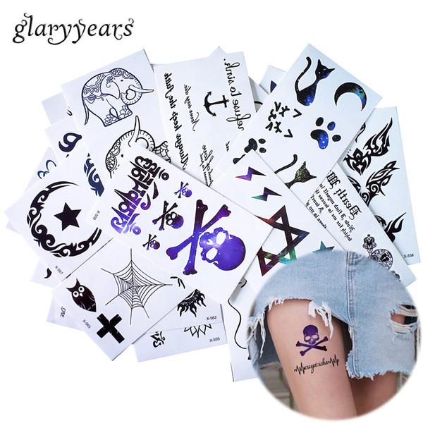 glaryyears 25 Designs X 1 Sheet 10.5*6cm Black Tiny Temporary Tattoo Sticker Leg Hand Body DIY Art Makeup Tattoo Moon Decal Cute