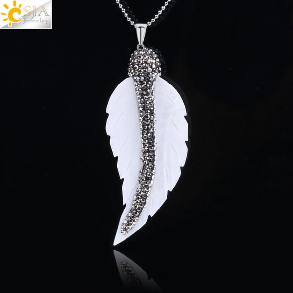 CSJA Natürliche Perlmutt Weiße Muschel Blatt Halskette Anhänger für Männer Frauen Böhmischen Strass Kristall CZ Perlen Charme Maxi Schmuck F133