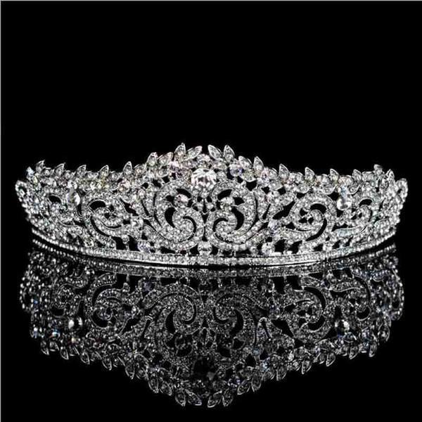 Top Quality Wedding Accessori per capelli Strass Corone da sposa Copricapo da sposa Tiara Crown Prom Diadem Pageant Party Jewelry S918