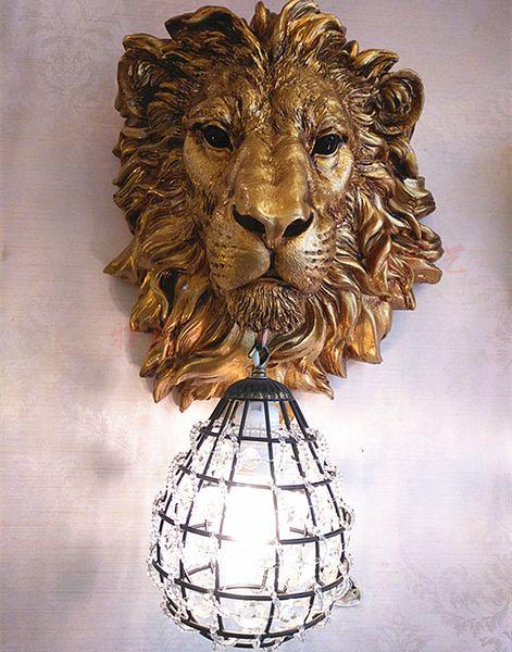 Classic LED Crystal Wall Lamp Fixture Resin Lion's head Wall Light Art Sconce For Children's Bedroom Corridor Home Lighting G686