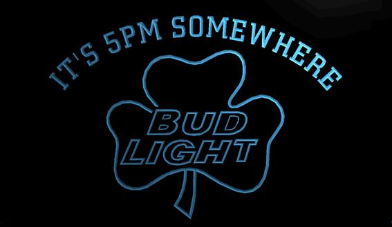 LS787-b- It's 5 pm Somewhere Bud Shamrock 3D LED Neon Light Sign Customize on Demand 8 colors to choose