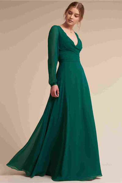 Long Sleeve Chiffon Prom Dresses 2019 A Line Deep V Neck Simple Cheap Formal Evening Gowns Women Cocktail Party Celebrity Red Carpet Dress