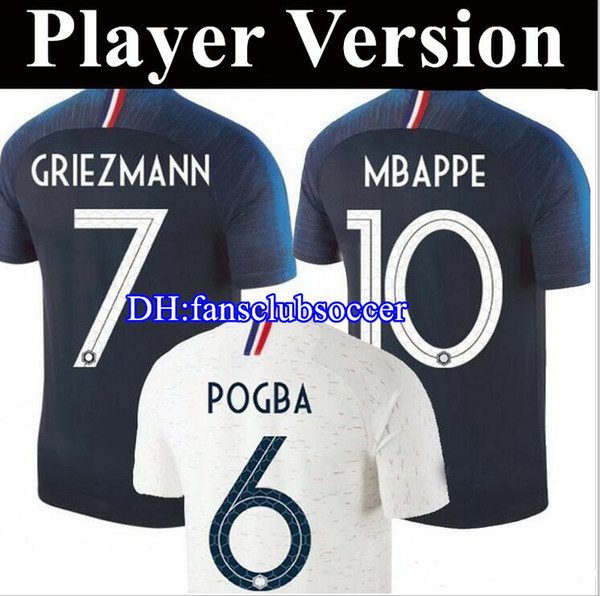 2 stars Player version 2018 2019 world cup Soccer Jersey Home soccer Shirt POGBA GRIEZMANN MBAPPE DEMBELE national team football uniform
