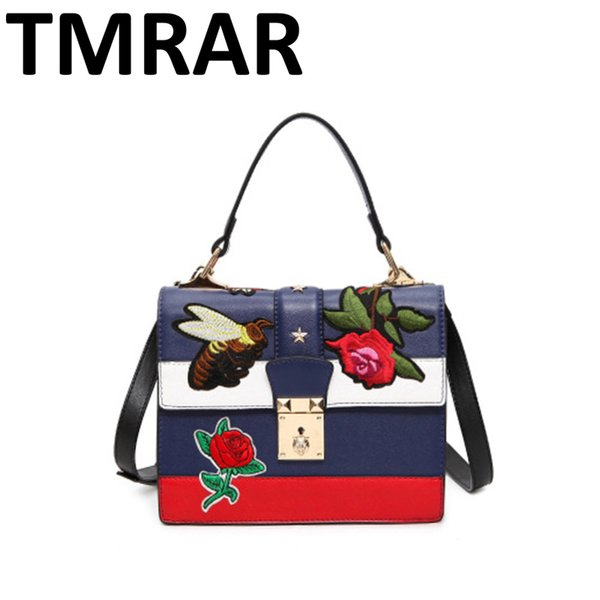 New Leather embroidery bee padder women lock handbags lady satchel color bang design hot and chic girls shoulder bags M1970