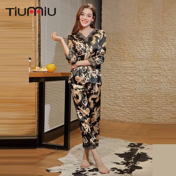 Vintage Dragon Print Women Pyjama Sets Señoras de alta calidad con cuello en V ropa de dormir Home Nightclothes MujerSleep Wear Night Shirt + Pants