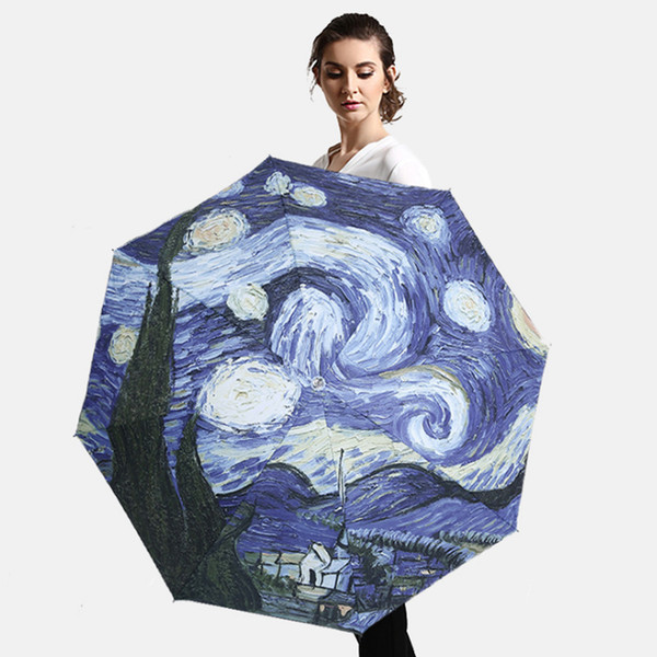 Van Gogh Oil Painting Folding Pattern Rainy Sunny Men Women Parasol Small Pocket Umbrella Gift Black Coating Paragus Promotion