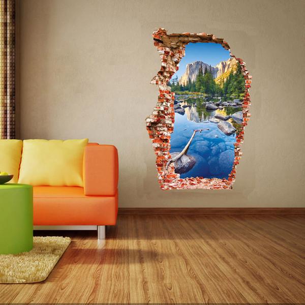 Breaken Wand 3D Wandaufkleber Bunte Teich Home Dekoration Wohnzimmer Hintergrund Berglandschaft Gebrochenes Loch Die Tür Aufkleber