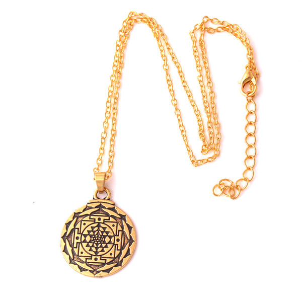 Portugal Mandala Gold Color CHAKRA 3rd Eye Hindu Goddess Yoga Punk Men Necklace Jewelry Sri Yantra Wiccan Pagan India