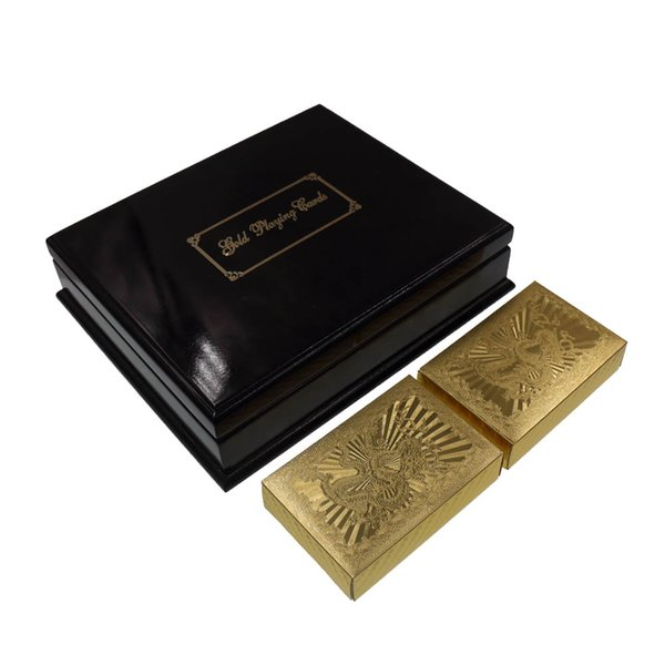Chinese Dragon 24k 999.9 Pure Gold Playing Card Cartas de póker normales con caja de madera negra para mesa de juego divertido Juego de mesa