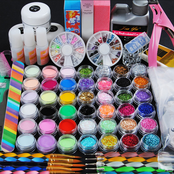 Pro Acrylic Power Manicure Nail Kit Acrílico Líquido Tips Cutter Glitter Rhinestones File Brush Manicure Nail Art Juego de herramientas Gel Kit
