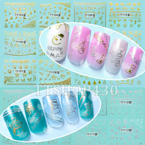 1 Lot = 12 Feuilles De Noël 3D Nail Art Or Sier Autocollant Decal X'mas Autocollants DIY Outil Flocon De Neige Arbre Bonhomme De Neige TY103-114