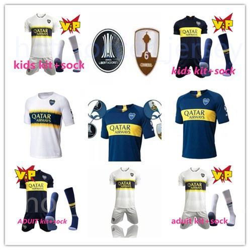 18 19 Boca Juniors Ana Sayfa Futbol Formalar Üniformalar Erkekler veya Çocuklar Tişört Kalite Futbol Forması Boca Uzakta Futbol Blue White Pavon GAGO TEVEZ