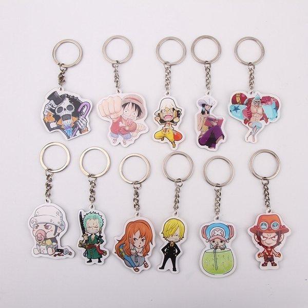11 styles One Piece Keychain Trafalgar Law Luffy Key Chain Hot Sale Custom made Anime Key Ring