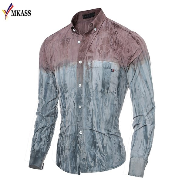 2018 Camisas de mezclilla Slim Fit Hombres Color de degradado Ropa casual Vestido de manga larga para hombre Moda Soft Patchwork Camisa