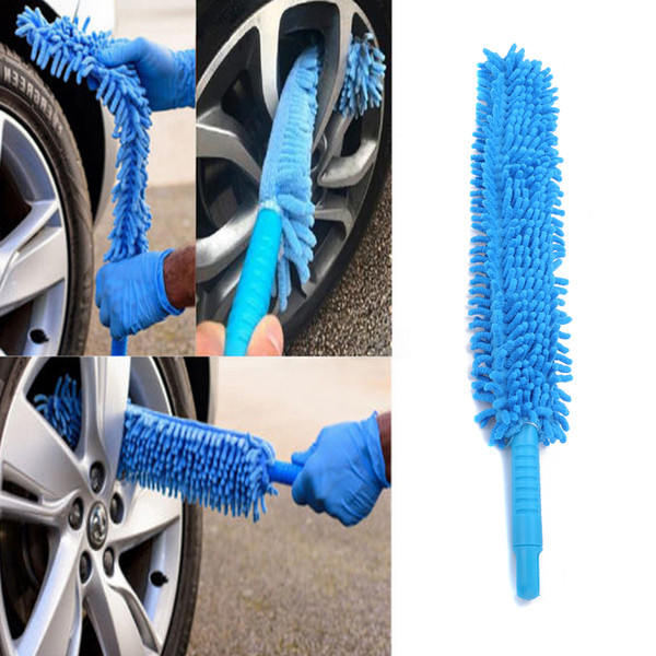 top popular 1 pcs Flexible Extra Long Soft Microfiber Noodle Chenille Blue Car Wheel Wash Brush Microfiber Wheel Cleaner Car Wash Accessorie 2021