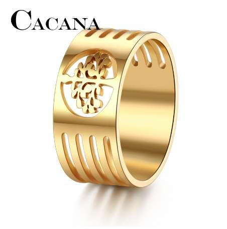 CACANA HIP Punk Gold Color 316L Stainless Steel Wisdom Tree Rings For Men Jewelry FULL Size 7-11 DROP SHIPPIING
