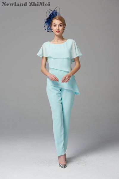 Мятно-зеленый мать невесты брюки костюмы 2019 лучшие продажи удобные шифоновые брюки набор для свадьбы vestido мае да noiva