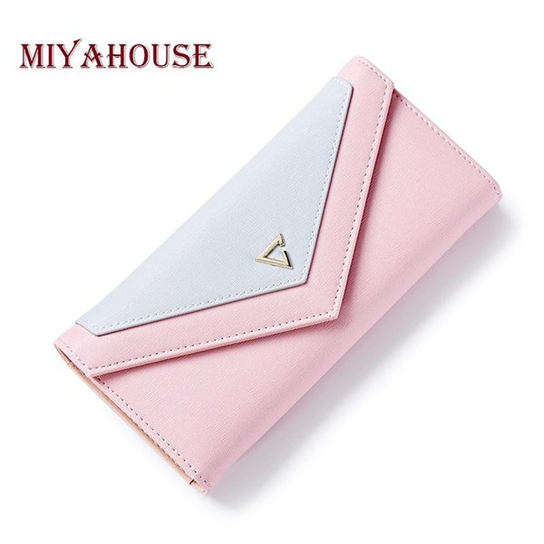 Miyahouse Geometric Envelope Clutch Wallet For Women Hasp Wallet PU Leather Female Long Purses With Card Holder Coin Purse