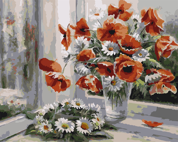Daisy And Poppy Flowers 16x20 inches DIY Paint On Canvas drawing By Numbers Kits Art Acrylic Oil Painting Frame For Adult Teen
