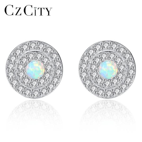 CZCITY Genuine 925 Sterling Silver Stud Earrings for Women Fire Opal Round Shape Charming Women Post Earring Engagement Jewelry