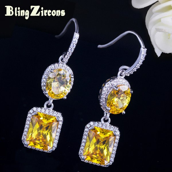BlingZircons OL Style Round and Square Cubic Zirconia Dangling Yellow Stone Hook Earrings Women Party Jewelry Accessories E199