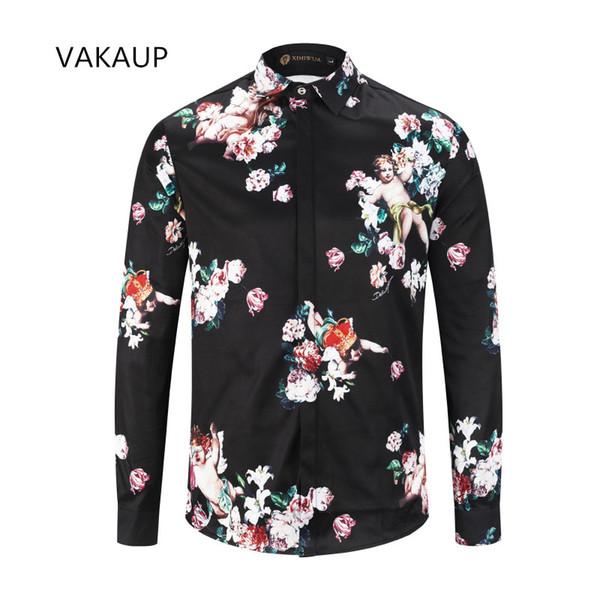 Erkek giyim 2018 YENI Gömlekler Masculina Gömlek Marka Tasarımcı Smokin Gömlek Homme Casual Slim Fit Uzun Kollu Elbise Gömlek Erkekler