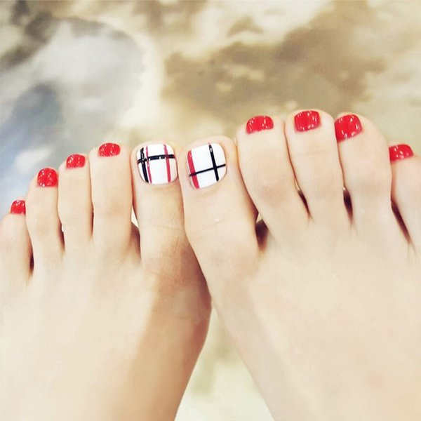 24pcs/Set Summer Cute Girls Toes Nail Art Decoration Black Red Line Pattern Full Cover Finished Foot False Nails with Glue