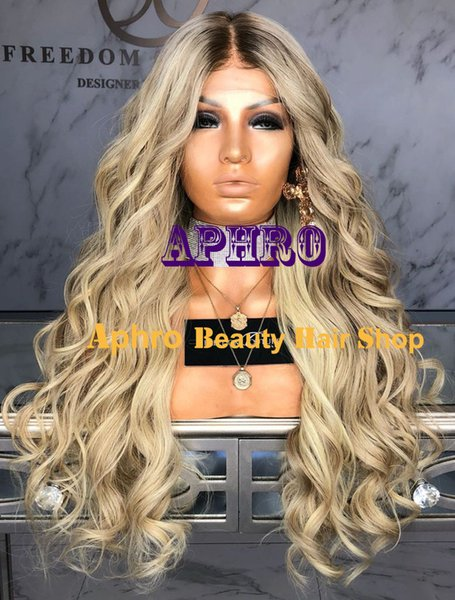 Wholesale Ombre Blonde Brazilian Human Hair Full Lace Silk Top Wigs With Lowlights Body Wavy Lace Front Blonde Wigs With Dark Roots