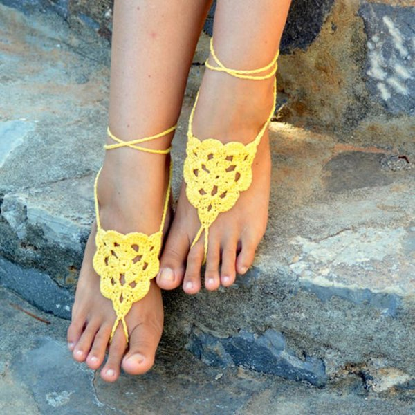Women Barefoot Sandals - LEMON -Crochet Wedding Shoes, Sexy Nude Shoes, Lace Shoe, Anklet, Toe Ring, Yoga, Foot Thongs, Nude Shoes, , anklet