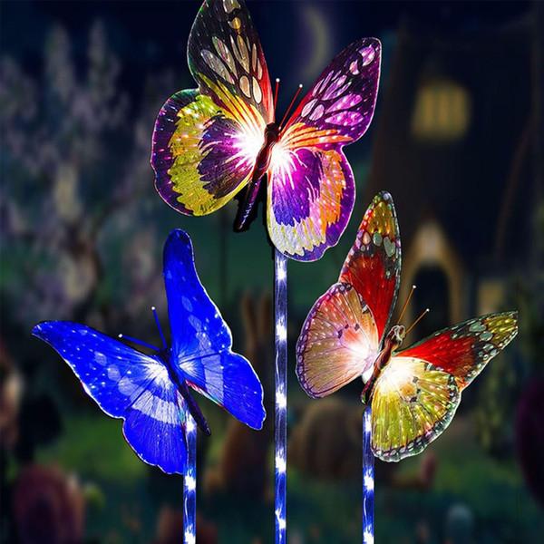 Luz solar del césped a prueba de agua luces de mariposa de fibra óptica LED para la boda de vacaciones Decoración de Navidad Luz blanca de colores 2 Pack