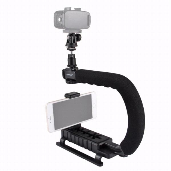 PULUZ for steadycam U-Grip C-shaped Handgrip Camera Stabilizer w/h Tripod Head Phone Clamp adapter for Steadicam DSLR Stabilizer