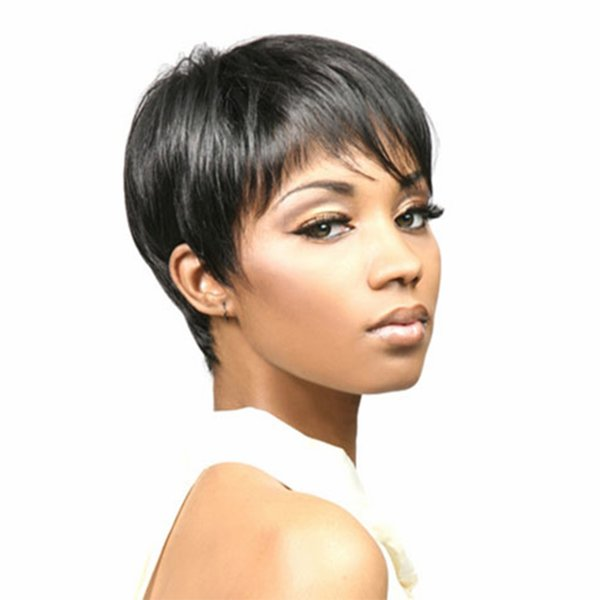 Hair Black Highlighted Short Straight Pixie Cut Hairstyle Wigs Heat Resistant African American Synthetic Wig For Women