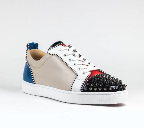Chaussures de skate plates en cuir pour hommes de la marque Tony Tony Spikes plates pour hommes de la marque Red Bottom Men