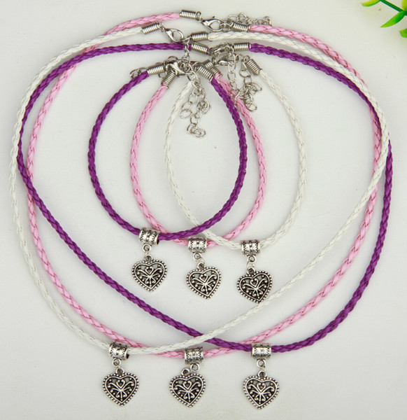 10set/lot Alloy Ancient Silver Hollow Heart Charm Pendants Multicolor Braided Rope Necklace Bracelet Sets Women&Men Jewelry Holiday Gift
