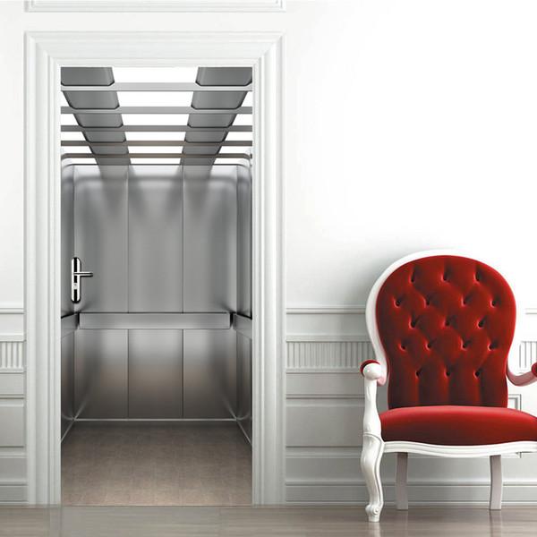 Acheter Ensemble 3d Modele D Ascenseur Creatif Porte Autocollants Chambre Renovation De Porte Coulissante Renovation Auto Adhesif Autocollant Mural