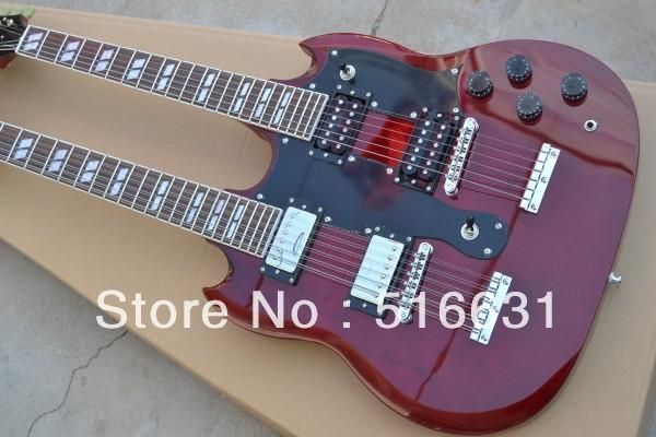 free shipping !SG 1275 Double Neck Electric Guitar double neck electric guitar in Wine red