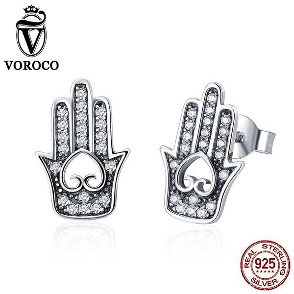 VOROCO Genuine 925 Sterling Silver Hamsa Earrings Heart in Hand Fatima Stud Earring Woman Dazzling Silver Fine Jewelry BKE416