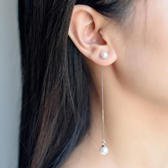 Double Pearl Earrings for Women with 925-sterling-silver Post   Sterling-silver-jewelry Sea Shell Made Pearl Jewelry Ear Thread