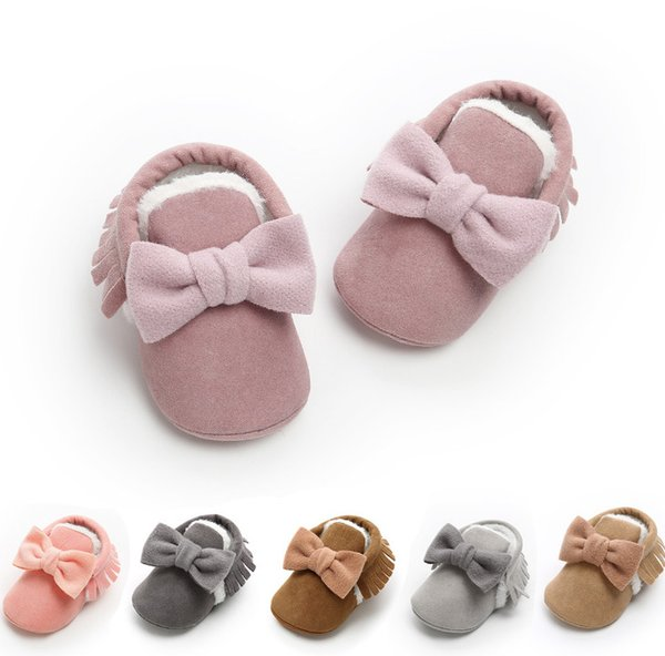 Baby moccasins girls Bows princess Pre walkers infant kids suede tassel soft toddle shoes winterbaby girls velvet thicken warm shoes F2034