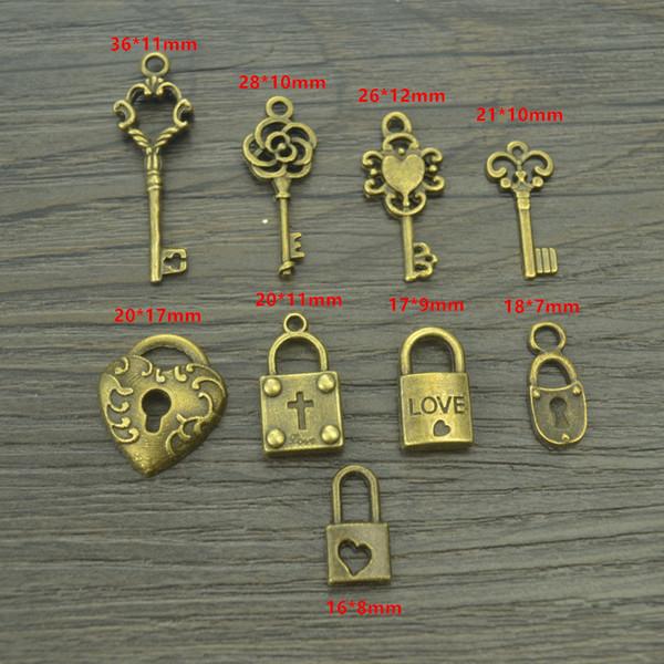 Mix sale antique bronze Charms metal key & heart lock Pendants for Jewelry Making DIY Handmade Craft 9 pcs