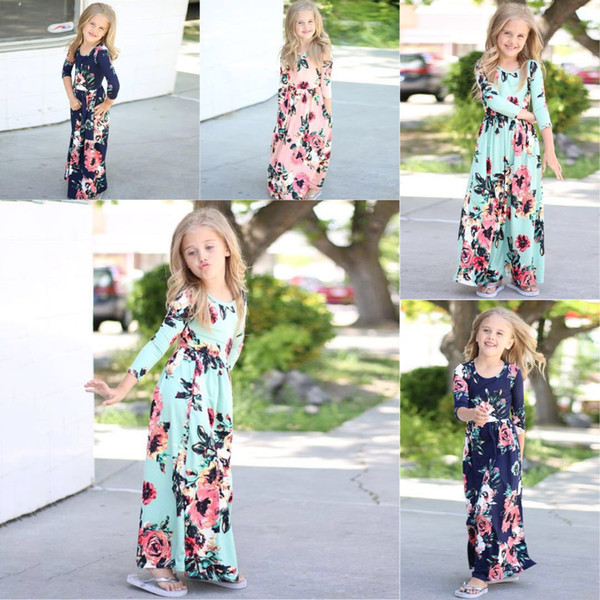 Baby girls summer new printed long dress flower Embroidered dresses round neck with girl's floral summer skirts kids boutiques clothes