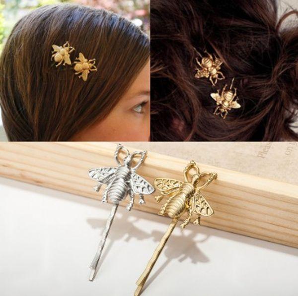 Little Bee Hair Clips Silver Gold Tone Womens Hair Barrettes Clip Metal Hairpin Hair Clip Pins