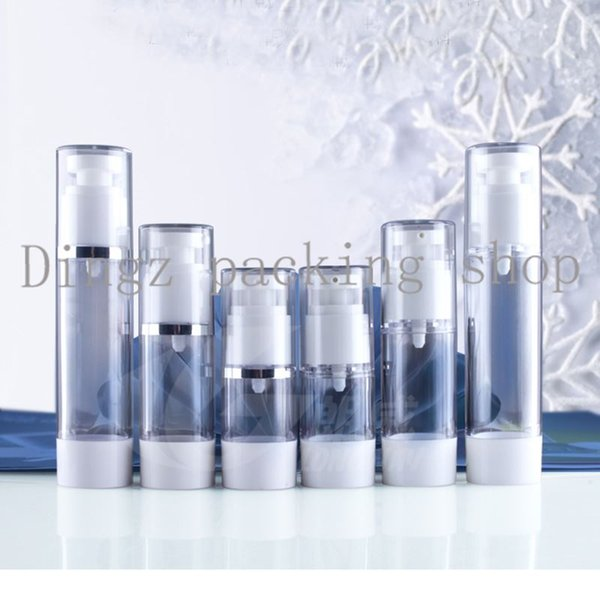 20pcs/lot,15ml transparent airless vacuum pump lotion bottle with silver line used for Cosmetic Container