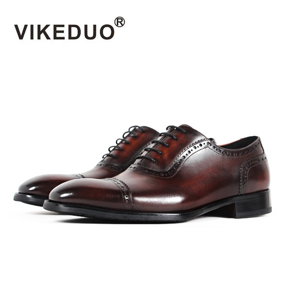 Vikeduo 2017 Handmade Designer Vintage retro flat Wedding Party dance Office male shoe Genuine Leather Men Oxford Dress Shoes
