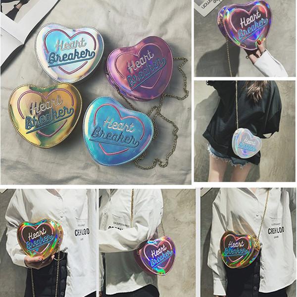 Sevimli Bayan Kalp Şekli Cüzdan Nakış Mektubu Lazer Deri Sikke çanta Debriyaj Cüzdan Lady Kart Sahibinin Mini Küçük Çanta